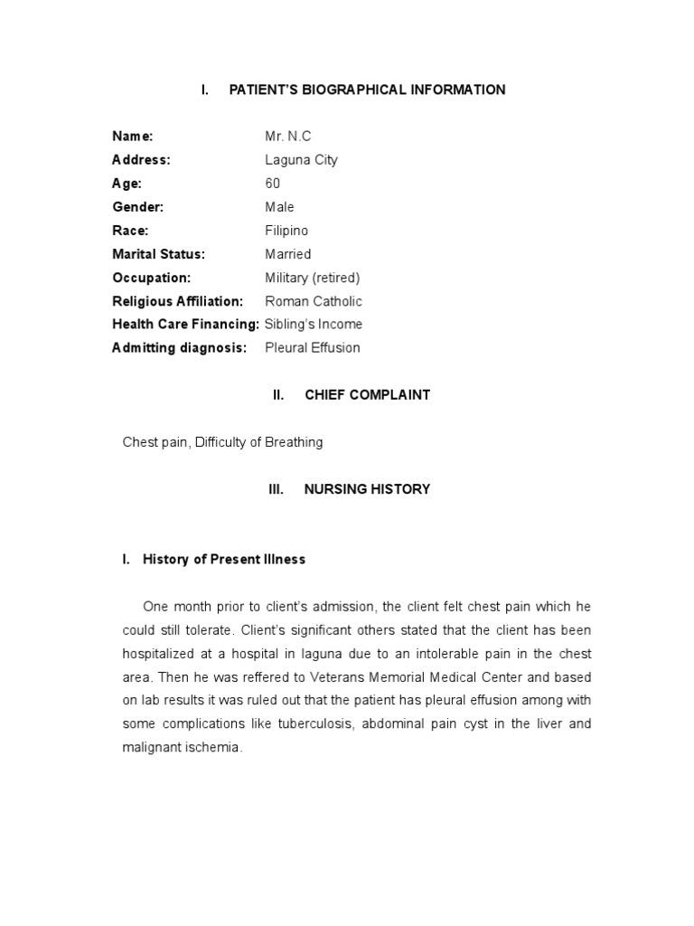 Nursing History Sample