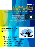 Discuss different skills that manager must have and the roles they can fill