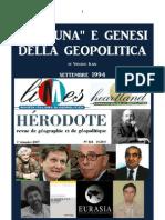 ILARI Virgilio. Fortuna e Genesi Della Geopolitica. Settembre 1994