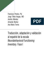 Traducción, adaptación y validación al español de la escala - Fase I