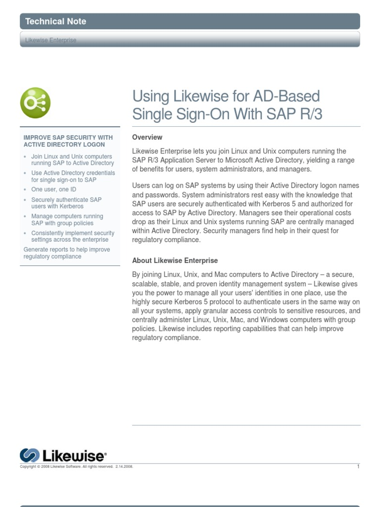 Improve SAP Security with Active Directory Logon | Active