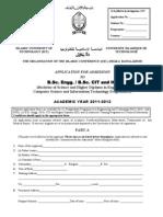 Application Form B.sc HD