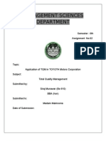 Total Quality Management Applying to Toyota Motors 1
