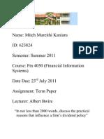 Fin 4050 Term Paper