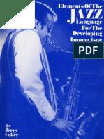 COKER, Jerry - Elements of the Jazz Language