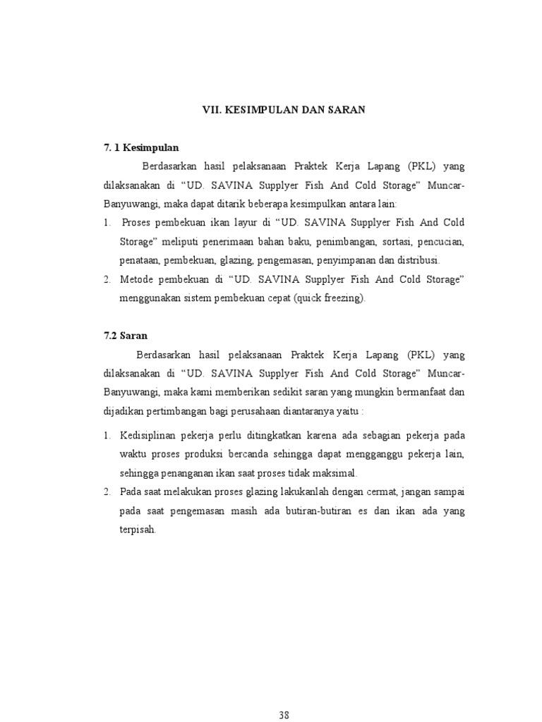 Laporan Pkl Banyuwangi Bab 7 Kesimpulan Dan Saran