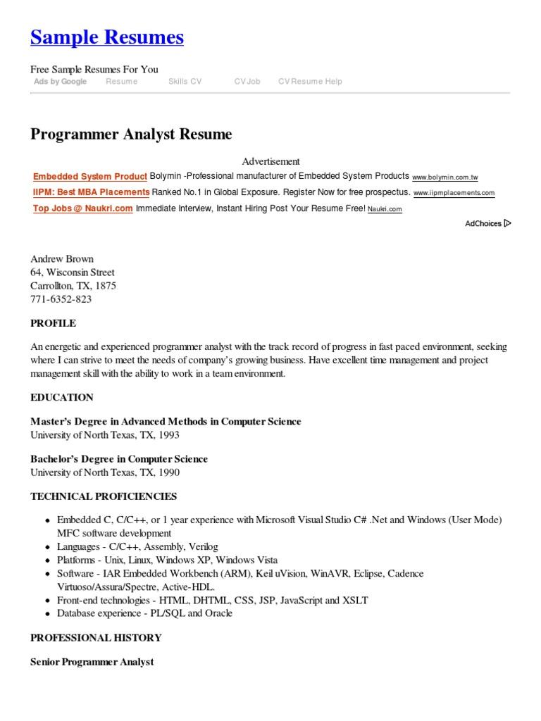 programmer analyst resume résumé programmer