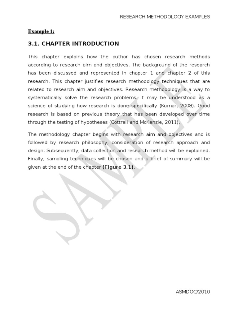 how to write a good research methodology chapter