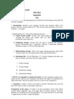 Detail PROJECT OUTLINE MKT 202 Spring 2011 Section 5
