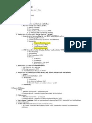 Florida Criminal Procedure Outline | Plea | Arrest