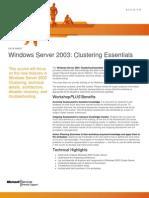 W2k3 Clustering Essentials Syllabus