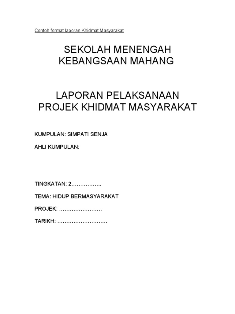 Contoh Format Laporan Khidmat Masyarakat