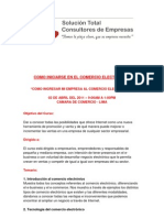 Temario Del Curso Como Iniciarse en El Comercio Electronico