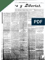 Periodico Libertario Tierra y Libertad n 1 de 1904