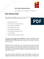 EDF Crisis Resolution on the Impact of Financial Crisis on Persons With Disabilities