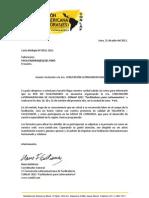 Carta de invitación para facilitadores del PERÚ