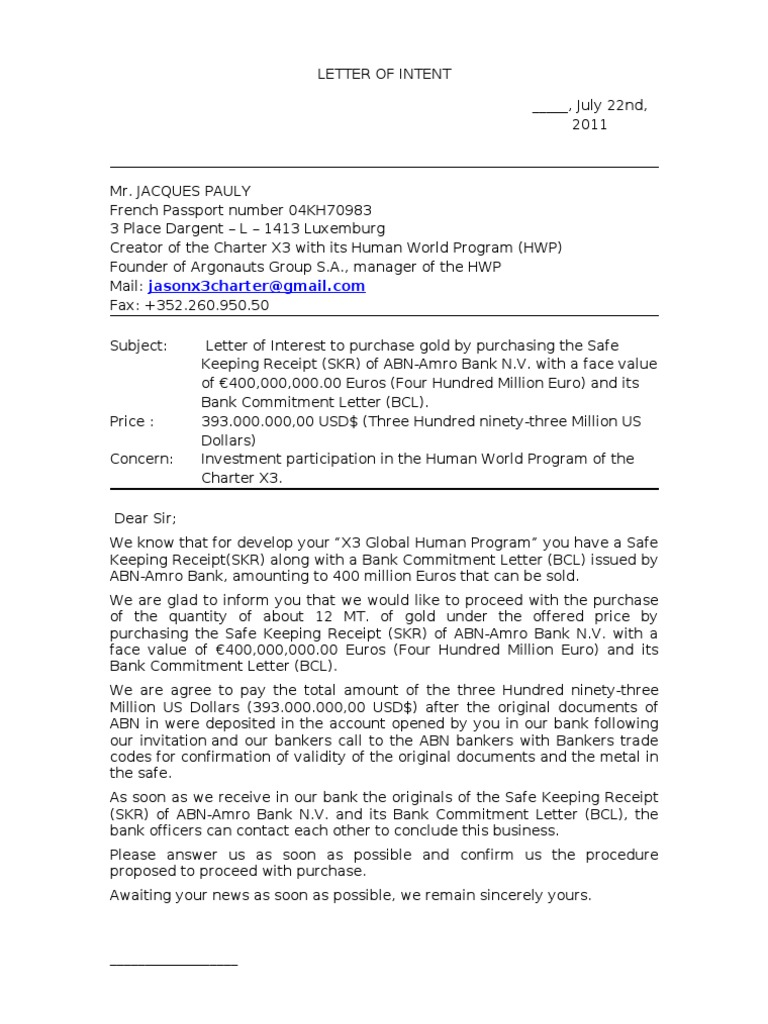 Investment Letter Of Intent.Letter Of Intent 3