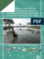 Peces nativos de Agua Dulce de America del Sur de interés para la Acuicultura. FAO. Flores N., A & A. Brown. 2011