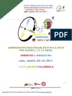 @Fvciclismo FVC Campeonatos Nacionales de Ruta & Pista Pre-Juvenil LARA 2011