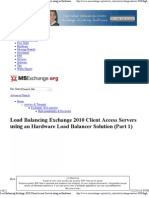 Load Balancing Exchange 2010 Client Access Servers Using an Hardware Load Balancer Solution (Part 1)
