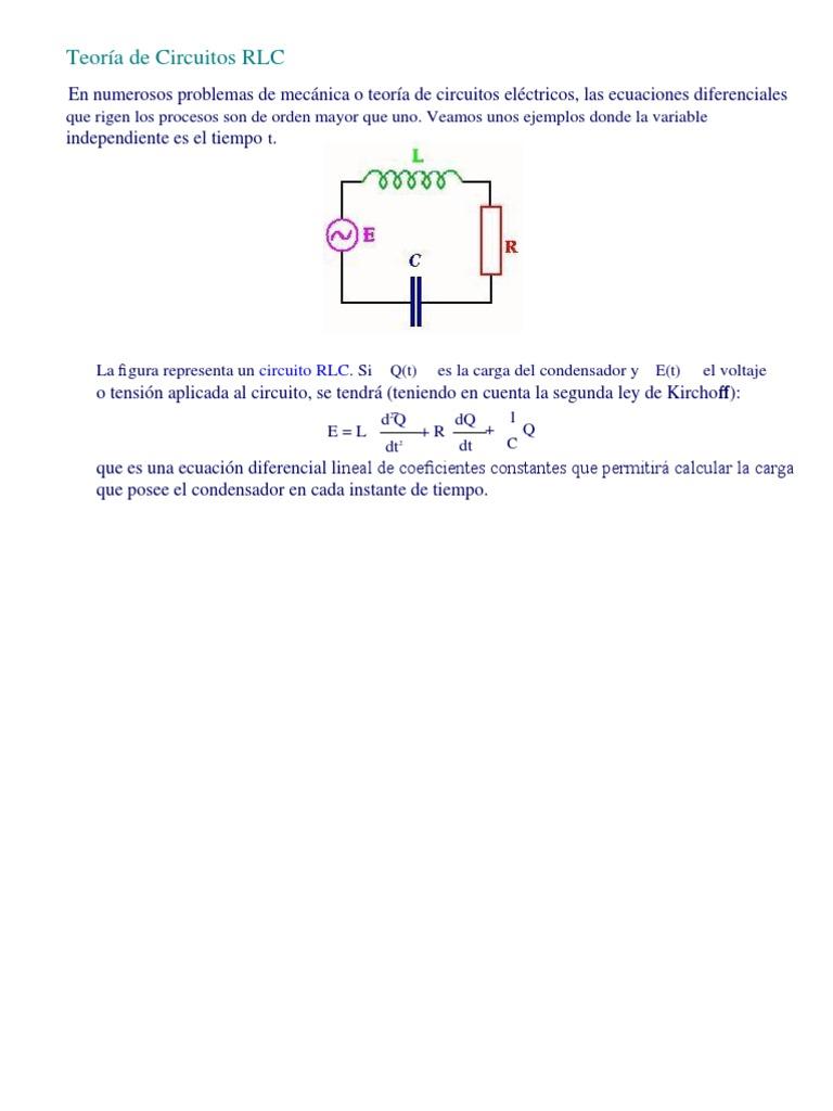 Circuito Rlc : Teoría de circuitos rlc