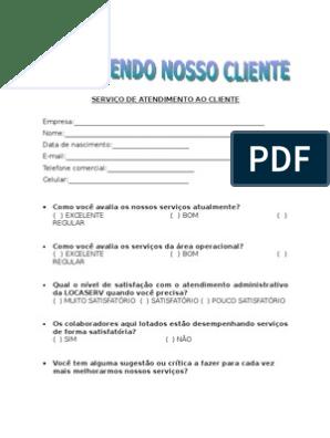 Formulário Pesquisa De Satisfação Cliente 020807