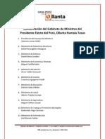 Relación oficial de ministros de Estado designados por el presidente electo Ollanta Humala