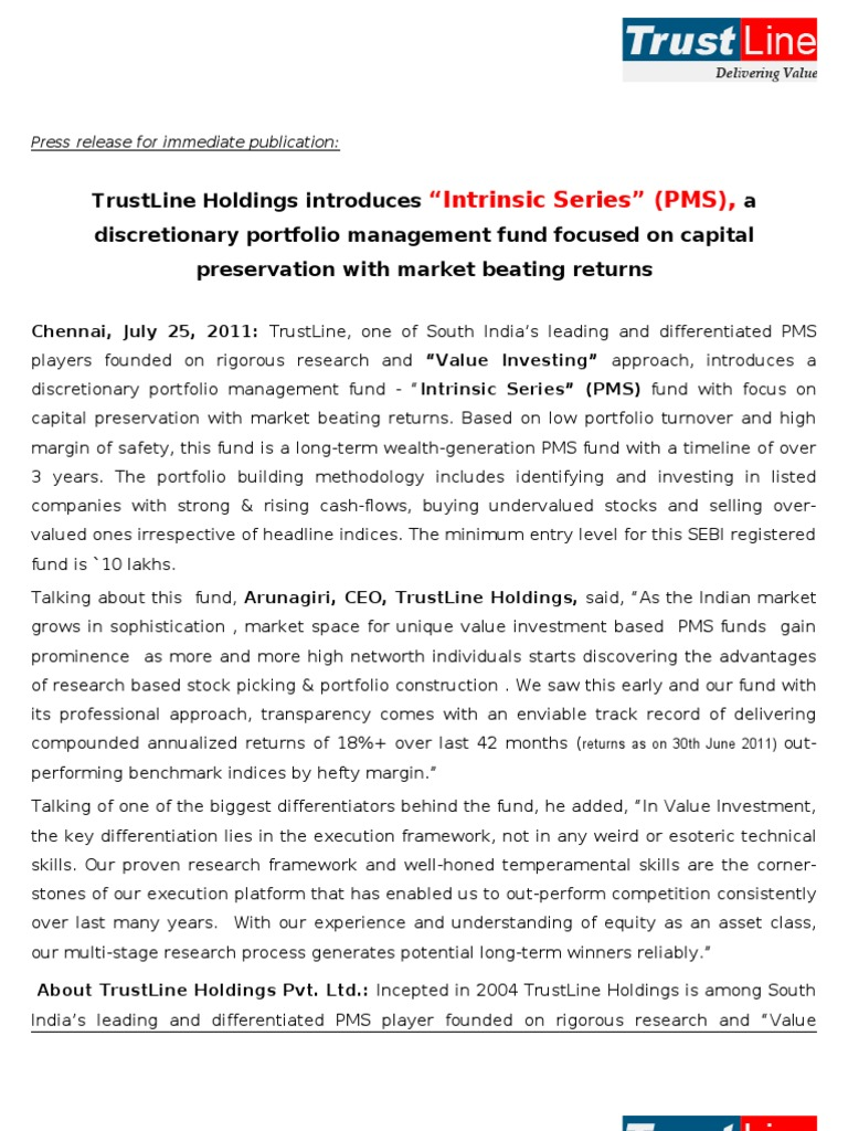 Trustline holdings introduces intrinsic series pms a trustline holdings introduces intrinsic series pms a discretionary portfolio management fund focused on capital preservation with market beating 1betcityfo Images