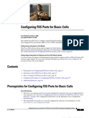 Configuring FXS Ports for Basic Calls   Telephone   Ip Address