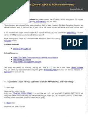 Ascii to Pdu Converter Convert Ascii to Pdu and Vice Versa   Codec