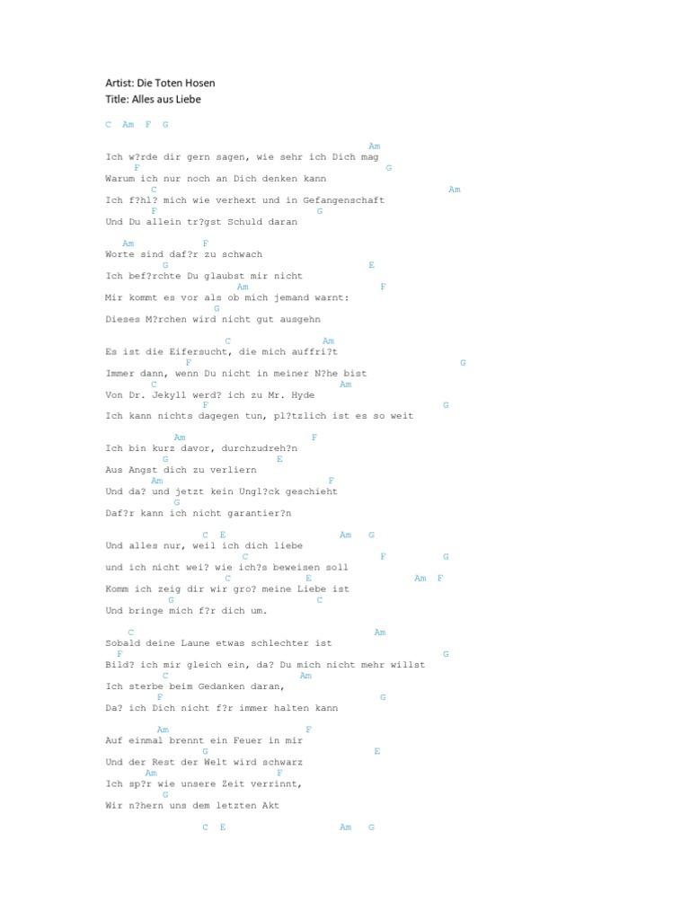 Die Toten Hosen Alles Aus Liebe Guitar Chords