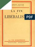 Backe Herbert - La fin du libéralisme (1942)