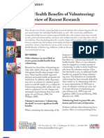 The Health Benefits of Volunteering- A Review of Recent Research