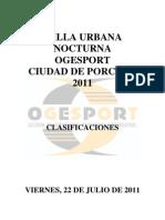 Clasificaciones Milla Nocturna Ciudad de Porcuna 2011