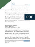 Warren Buffett Goldman & GE Bailout Interviews on CNBC, September & October, 2008