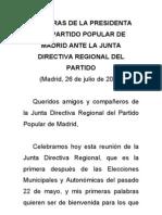 Palabras de la presidenta del Partido Popular ante la Junta Directiva Regional