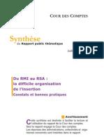 Synthèse du rapport de la cour des compte intitulé du RMI au RSA