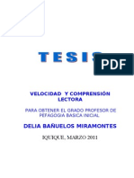 EJEMPLO DE TESIS, VELOCIDAD  Y COMPRENSIÓN  LECTORA