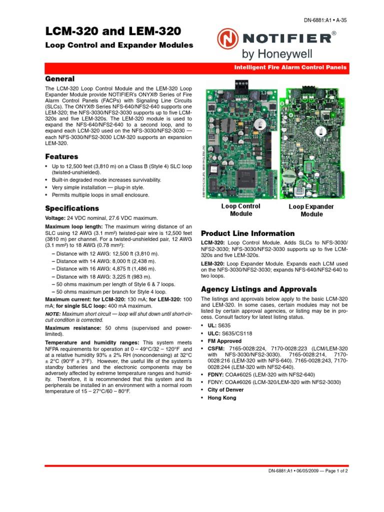 lcm lem 320 control and expander modules data sheet electrical rh scribd com 320 Notifier UDACT Programming Notifier NFS-320 Programming Manual