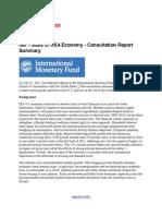 IMF - Current Status of USA Economy - Consultation Report Summary