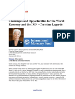 Challenges and Opportunities for the World Economy and the IMF - Christine Lagarde