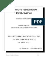 Elementos Del INFORME FINAL de Residencia Profesional