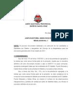 INTERNAS 2011. Resolucion 1-JEP Aprueba Escrutinio