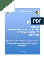 Politica a de Gestion Integral de Riesgo a Desastres (PCGIR)