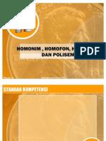 Homonim , Homofon, Homograf, Dan Polisemi