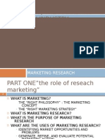 i. the Role of Research in Marketing, The