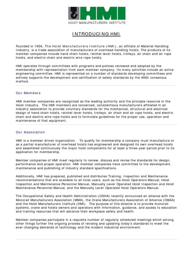 Hmi Hoist Basics and Standards | Crane (Machine) | Elevator