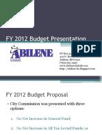 FY 2012 Budget Presentation