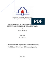 Investigation of Wellbore Storage Effects on Analysis of Well Test Data