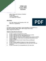 UT Dallas Syllabus for opre6301.mbc.11f taught by John Wiorkowski (wiorkow)